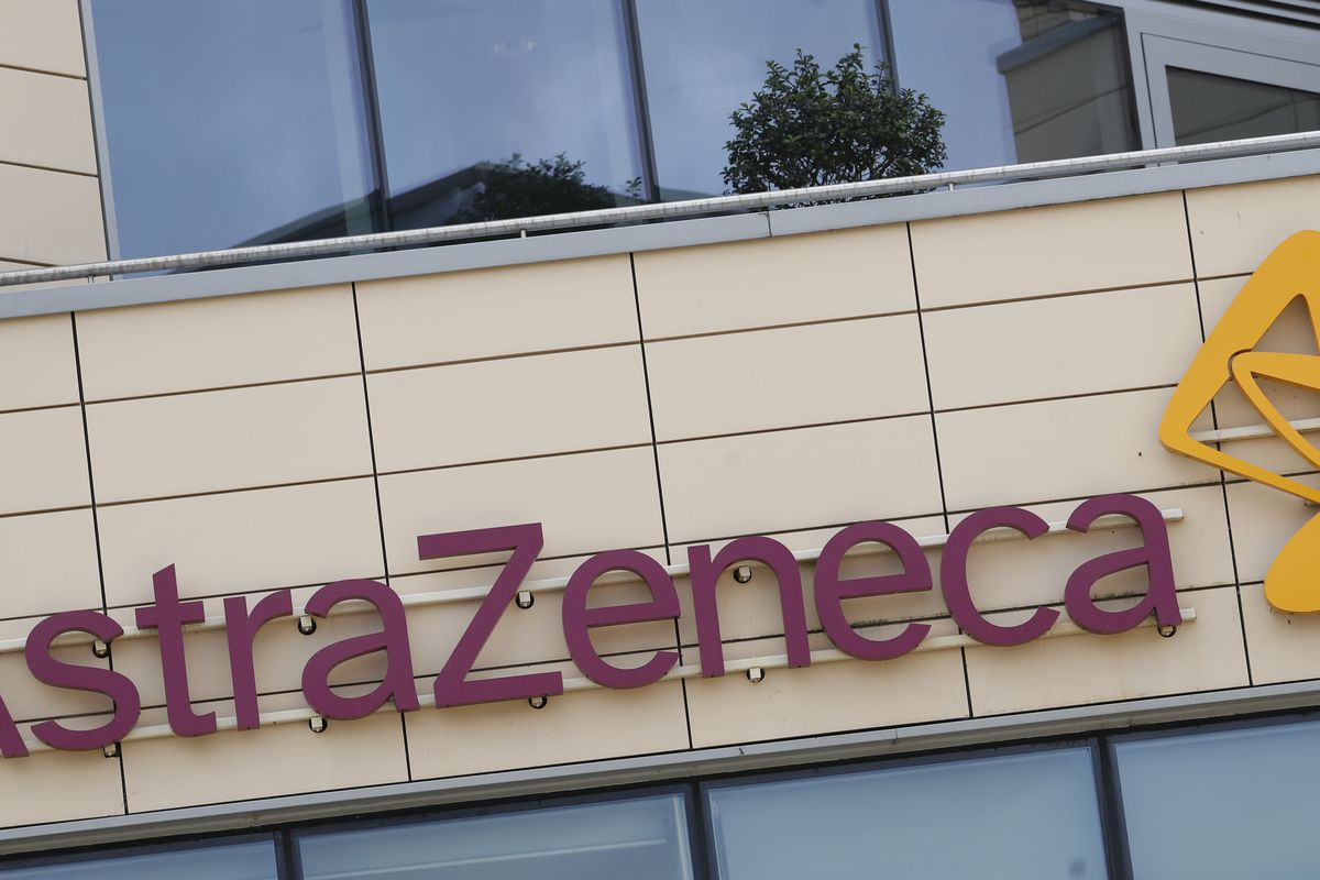 This Saturday, July 18, 2020 file photo shows a general view of AstraZeneca offices and the corporate logo in Cambridge, England.