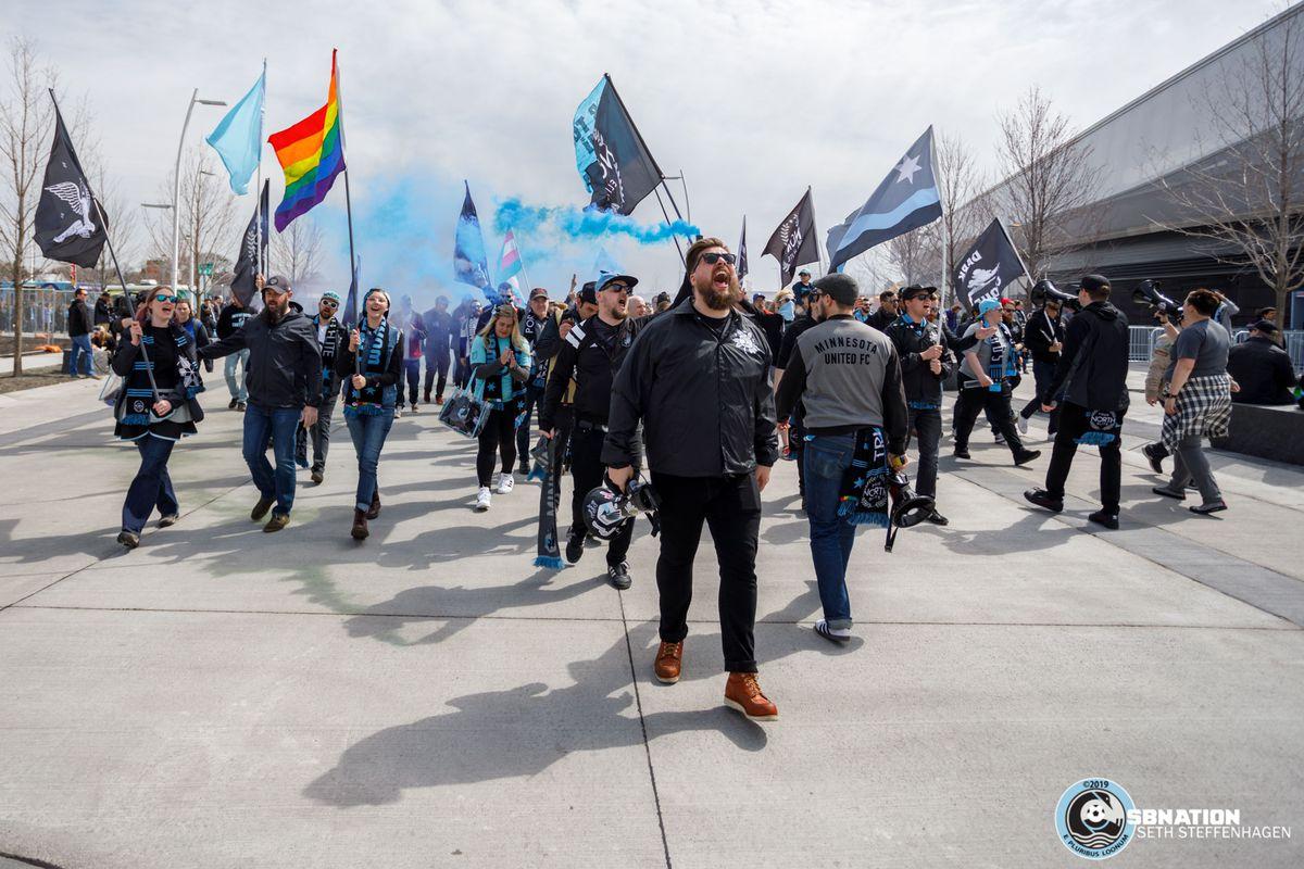 April 28, 2019 - Saint Paul, Minnesota, United States - The Wonderwall marches to the stadium prior to the Minnesota United vs DC United match at Allianz Field.   (Photo by Seth Steffenhagen/Steffenhagen Photography)
