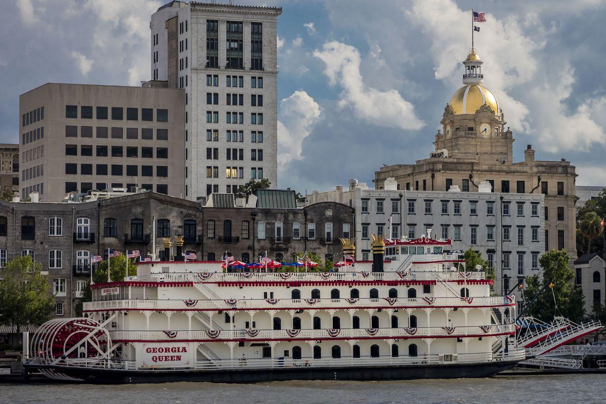 Scenic and historic Savannah Georgia River features Georgia Queen Riverboat