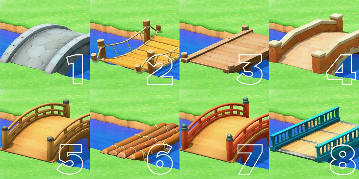 A series of bridges in Animal Crossing, displayed with the numbers one through eight