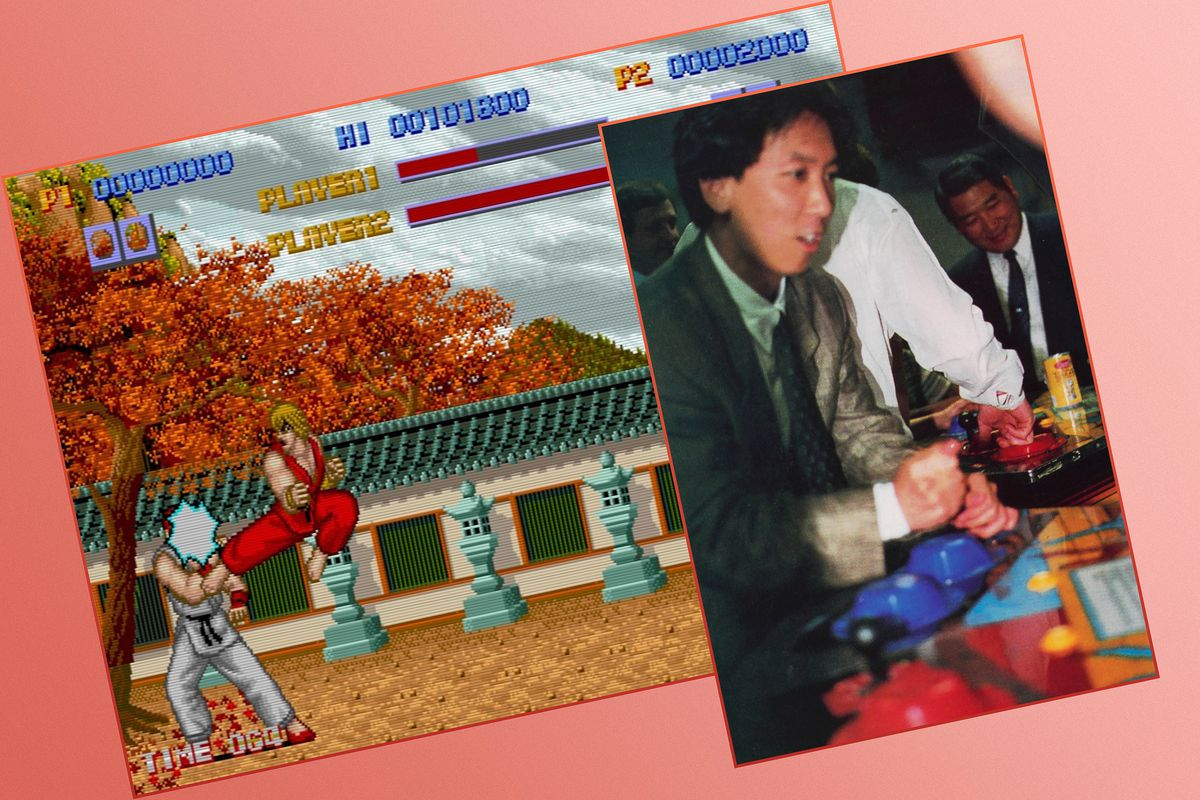 Graphic grid with screen from the Street Fighter video game and print image of man playing an arcade version of the original game