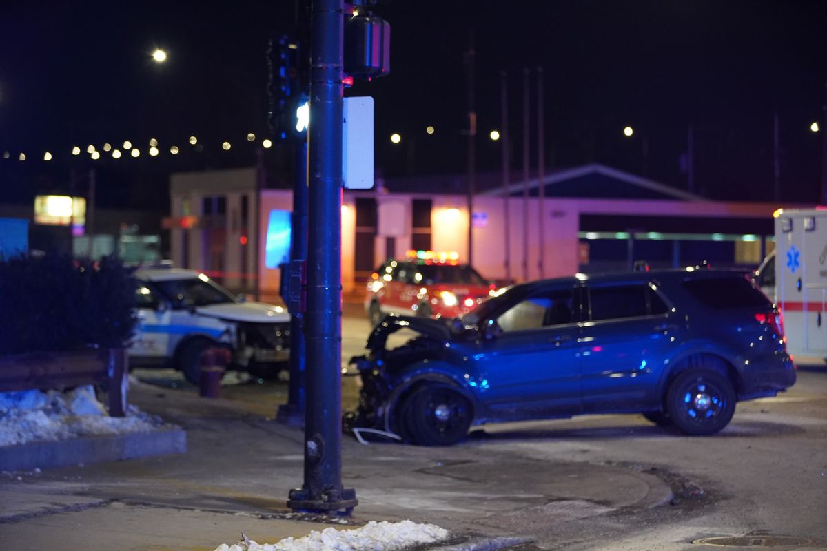 Five Chicago police officers were injured when a marked police SUV collided with an unmarked police vehicle Feb. 27, 2020, in the 9200 block of South South Chicago Avenue.