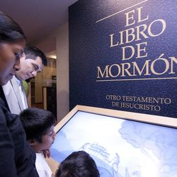 Kiosk and display on the Book of Mormon, in the visitors center located next to the Mexico City Temple of The Church of Jesus Christ of Latter-day Saints.