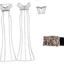 A drawing of a fall 2012 gown and bustier, along with a swatch of the gold-black velvet fabric it will be made from.