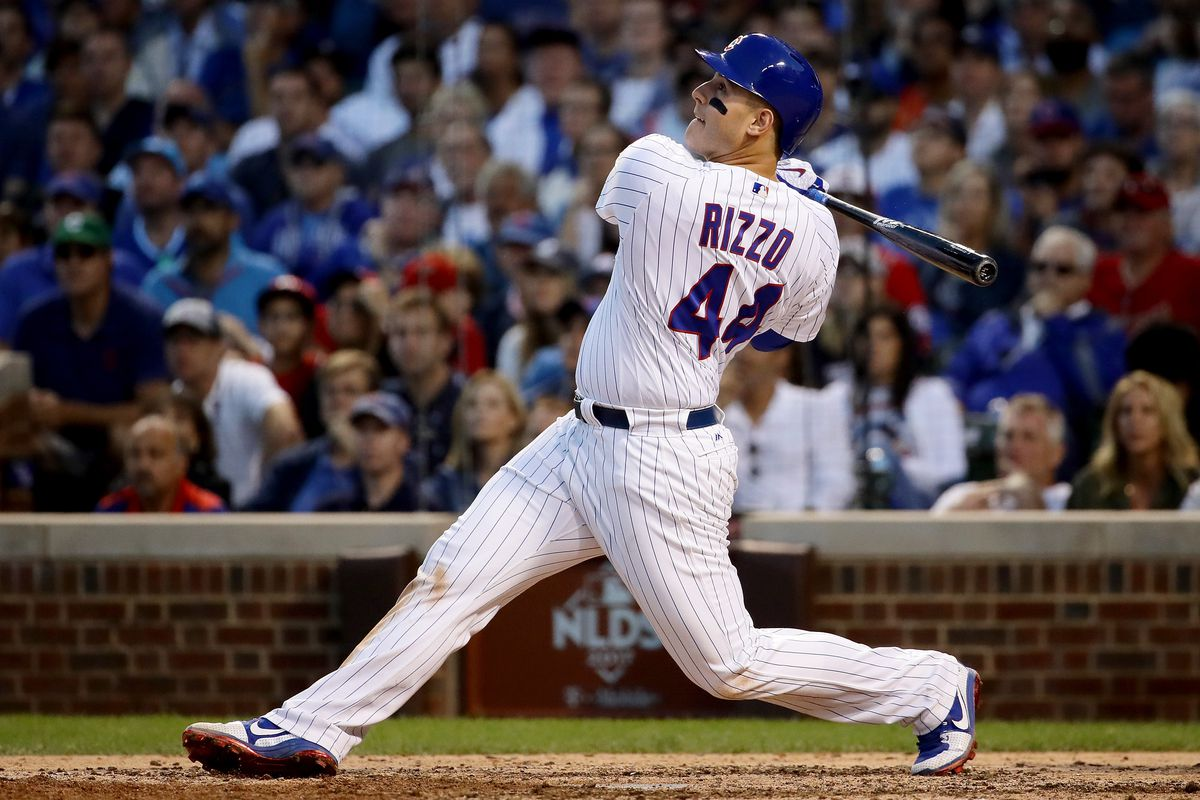 CHICAGO, IL - OCTOBER 09:  Anthony Rizzo #44 of the Chicago Cubs hits a single in the eighth inning against the Washington Nationals during game three of the National League Division Series at Wrigley Field on October 9, 2017 in Chicago, Illinois.  (Photo by Jonathan Daniel/Getty Images)