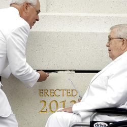 Elder Boyd K. Packer takes his turn putting mortar around the cornerstone. About 200 take part in the cornerstone ceremony at the Brigham City Temple prior to the dedication Sunday, Sept. 23, 2012.