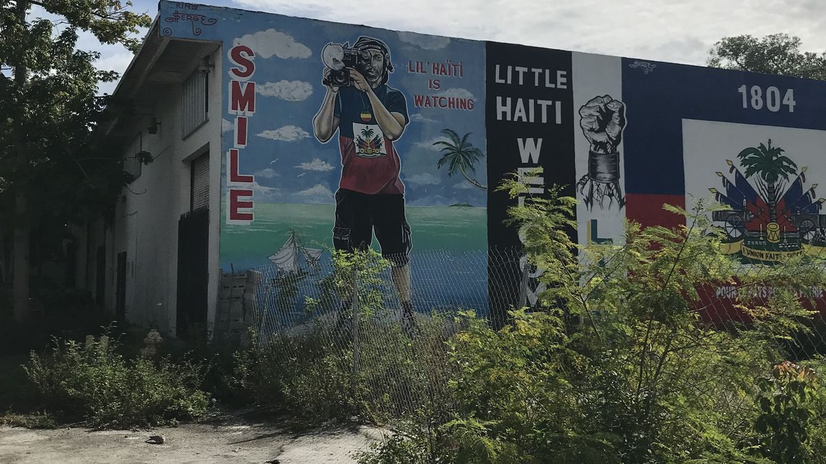 A bright mural located in front of an abandoned lot in Little Haiti, a neighborhood near downtown Miami.