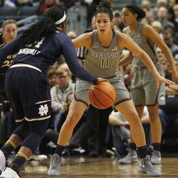 Notre Dame's Arike Ogunbowale (24) is guarded by UConn's Kia Nurse (11) during the Notre Dame Fighting Irish vs UConn Huskies women's college basketball game in the Women's Jimmy V Classic at the XL Center in Hartford, CT on December 3, 2017.