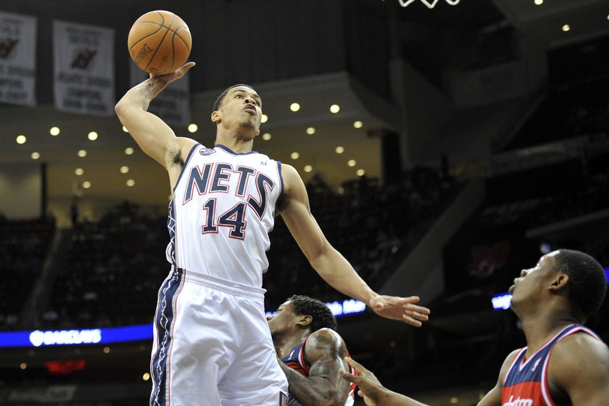Apr 6, 2012; Newark, NJ, USA; New Jersey Nets forward Gerald Green (14) dunks during the second half at  the Prudential Center.  The Nets won the game 110-98  Mandatory Credit: Joe Camporeale-US PRESSWIRE