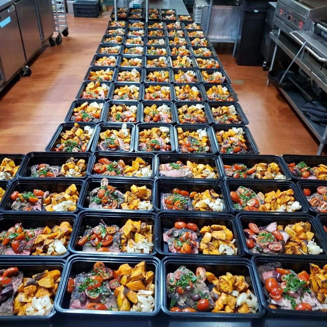 Staff at Deborah Miller Catering have transitioned their operation to preparing and delivering meals like these to hospital workers.