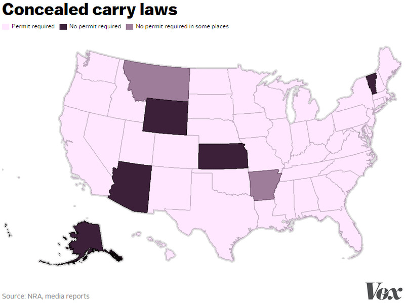 here are the 5 states that let you carry a concealed gun without a permit