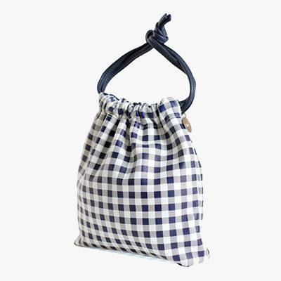 Navy gingham pouch.