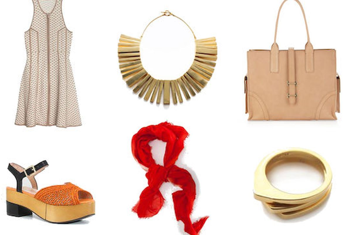 Jewelry at nOir, bag at Last Call by Neiman Marcus, dress at Intermix, and platform sandals at Creatures of Comfort