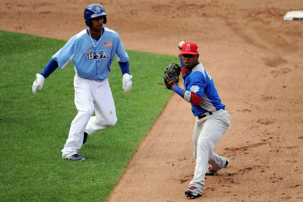 I think Anthony Gose is slightly off the baseline. From the 2012 MLB Futures Game.