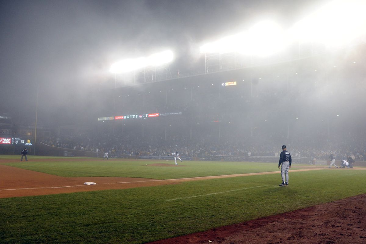 James Russell of the Chicago Cubs gets the last out against the Atlanta Braves in the fog on May 7, 2012 at Wrigley Field in Chicago, Illinois. The Chicago Cubs defeated the Atlanta Braves 5-1.  (Photo by David Banks/Getty Images)