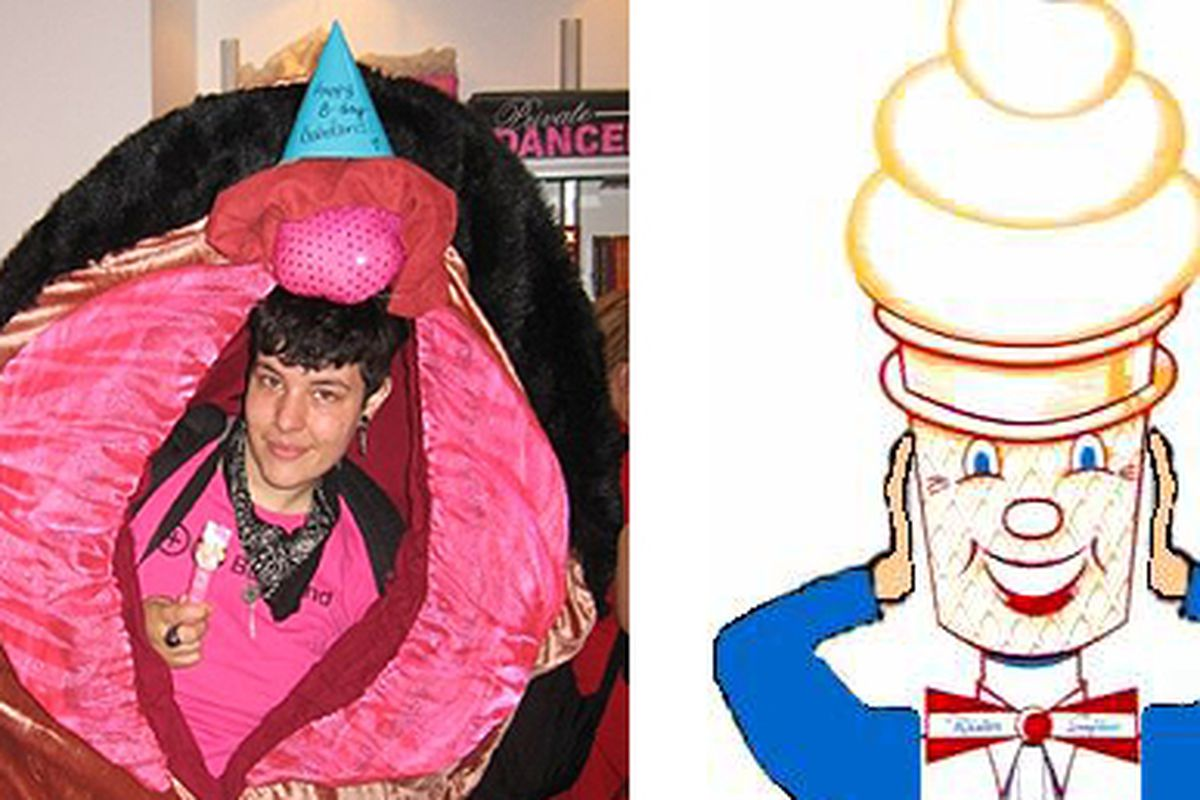 At left, the Babeland Vulva. At right, Mr. Softee.