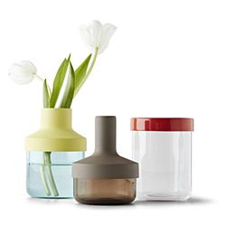 Kitchen accessories that can interchange as jars, drinking glasses, or a vase.