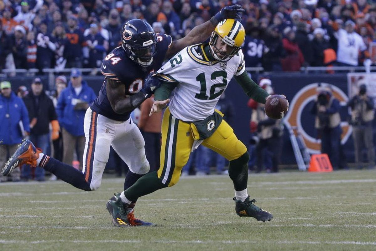 00d7faa86b0 Bears outside linebacker Leonard Floyd (94) sacks Packers quarterback Aaron  Rodgers in the second half of the Bears' 24-17 victory on Dec.