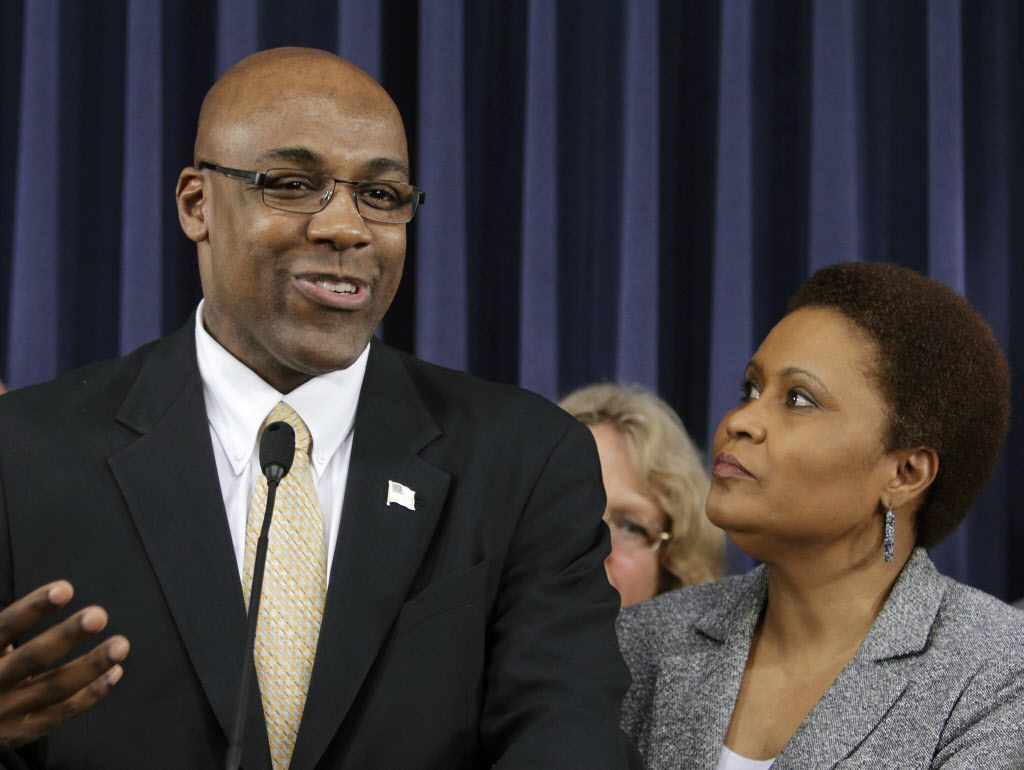 Then state Rep. Karen Yarbrough, D-Broadview, right, with state Sen. Kwame Raoul, D-Chicago, left, in 2011. (AP File Photo/Seth Perlman)