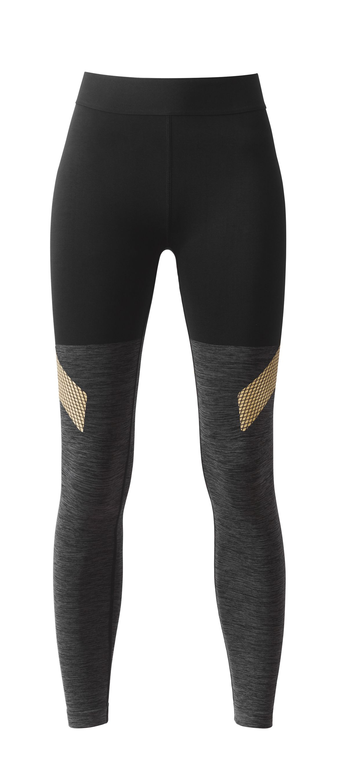 Black and grey leggings with gold detailing, $50.