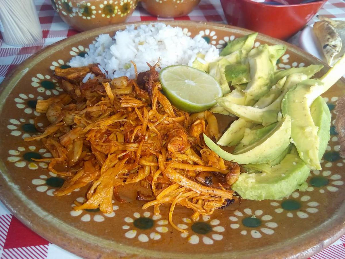 Saucy shredded meat on a decorative plate beside sliced avocado, lime wedge, and rice, on a checkered tablecloth