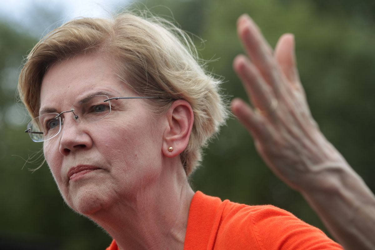 Elizabeth Warren delivers a campaign speech at the Des Moines Register Political Soapbox at the Iowa State Fair on August 10, 2019.