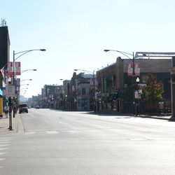 11:31 a.m.  Looking south on a desolate Clark Street -