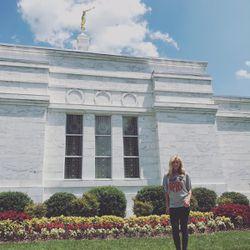 Carmen Herbert outside the Nashville Tennessee LDS Temple.