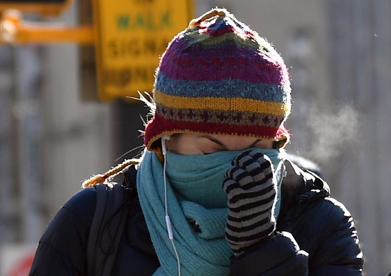 Une femme qui marche à Brooklyn le 31 janvier 2019 tient son écharpe sur son nez avec sa main gantée.