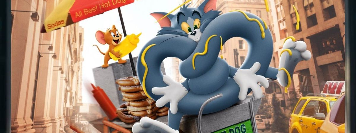 Tom, perched on a New York City hot-dog cart, is tied into a pretzel shape with Jerry squirting mustard on him in Tom & Jerry