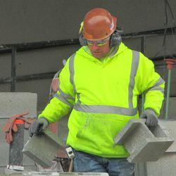 3:25 p.m. A concrete block that has been cut -