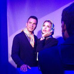 Jessica Alba and her husband Cash Warren pose like Old Hollywood stars in Hermes scarves.