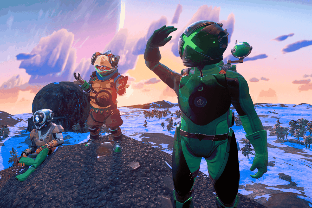 Three characters from No Man's Sky explore a planet together