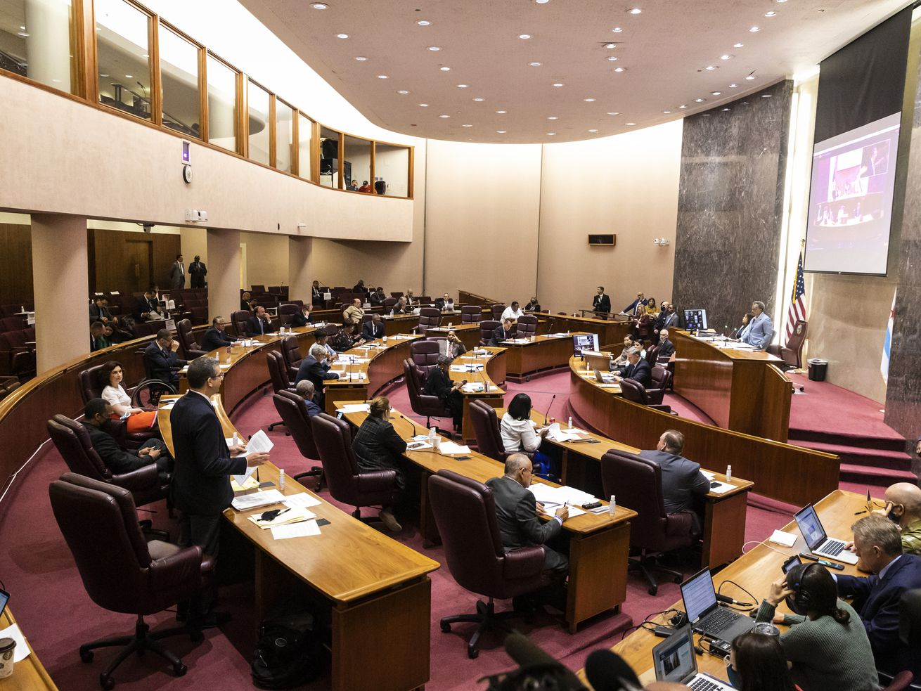 Aldermen in the Chicago City Council chambers for the meeting on Friday, June 26, 2021.