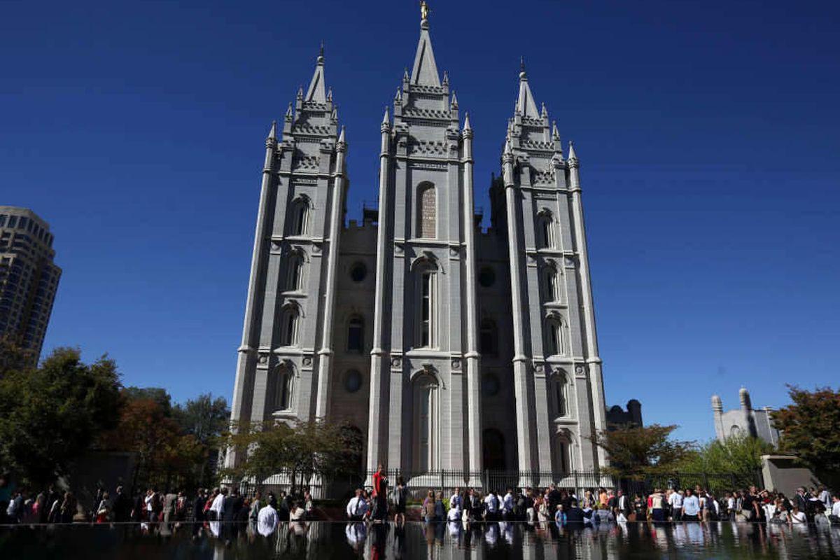 The Salt Lake Temple in Salt Lake City on Saturday, Oct. 4, 2014.