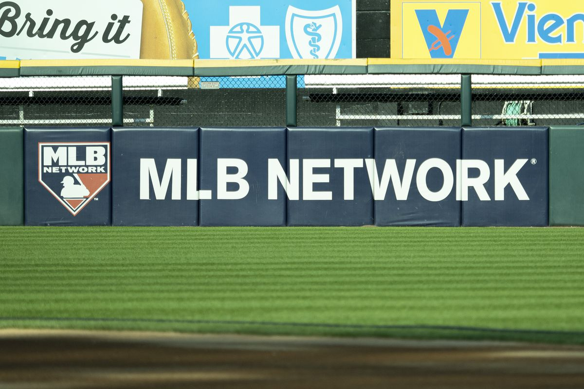 A view of the MLB Network logo before the MLB regular season game between the Minnesota Twins at the Chicago White Sox on July 25, 2019, at Guaranteed Rate Field in Chicago, IL.