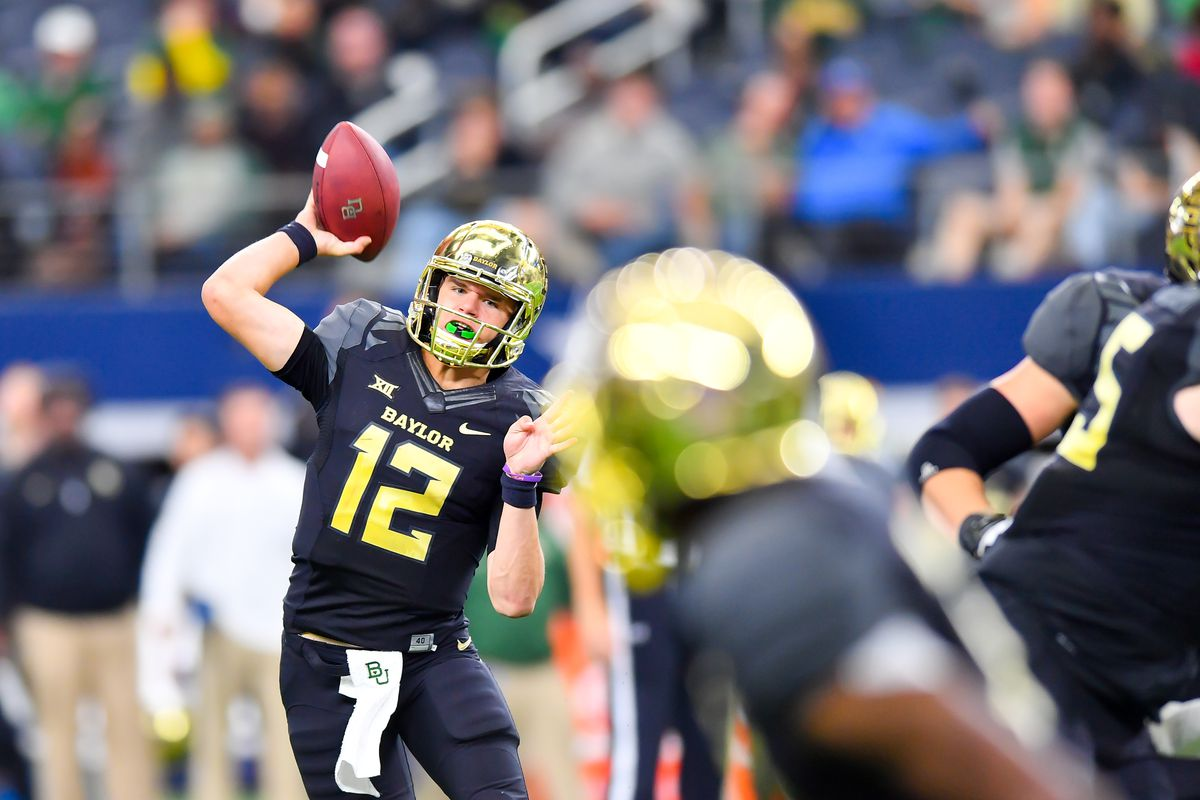 LUBBOCK, TX - NOVEMBER 11: Charlie Brewer #12 of the Baylor Bears looks to pass the ball during the game against the Texas Tech Red Raiders on November 11, 2017 at  AT&T Stadium in Arlington, Texas. Texas Tech defeated Baylor 38-24. (Photo by John Weast/Getty Images)