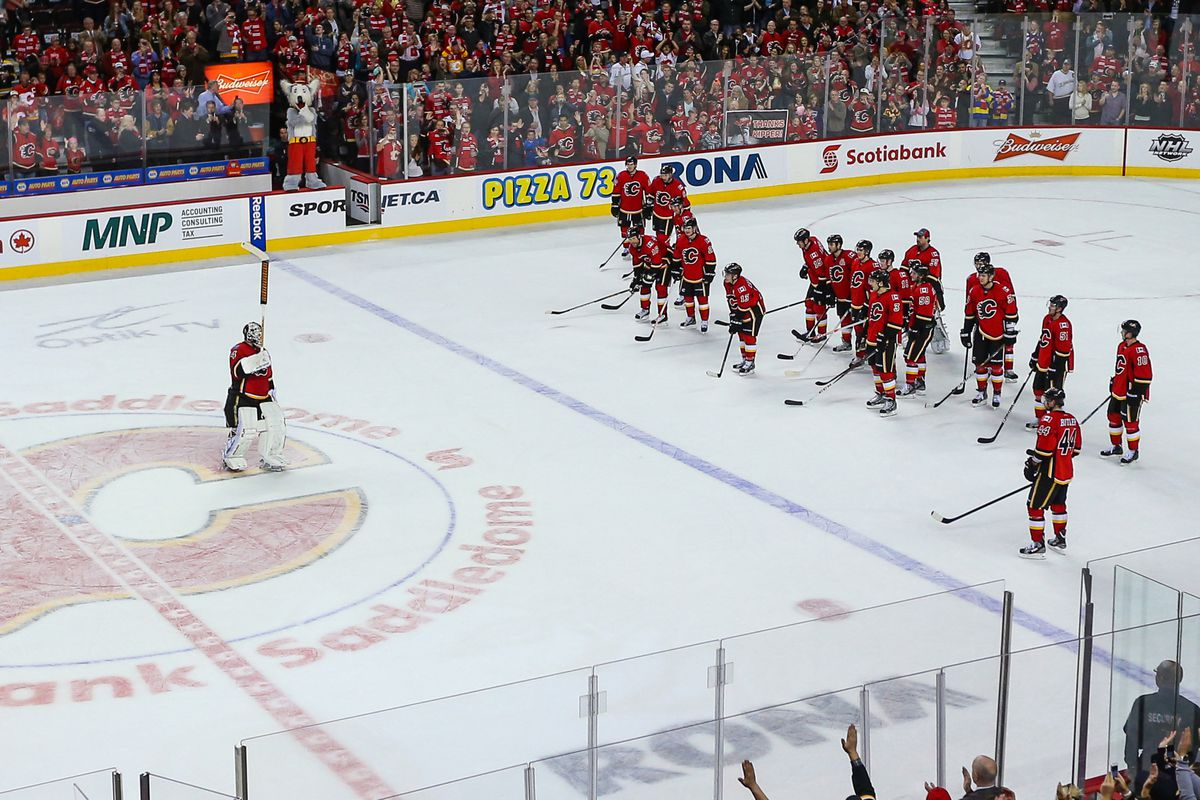 Miikka Kiprusoff salutes the crowd after his last game in front of a home crowd against the Anaheim Ducks.