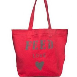 """<a href=""""http://www.feedprojects.com/shopping_product_detail.asp?pid=49445"""" rel=""""nofollow"""">FEED Love Bag</a> ($45) donates meals to children in countries with high rates of HIV/AIDS"""