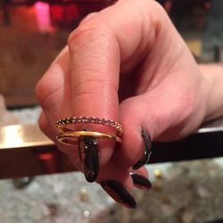 Black diamond, alexandrite, and white diamond engagement ring, $340