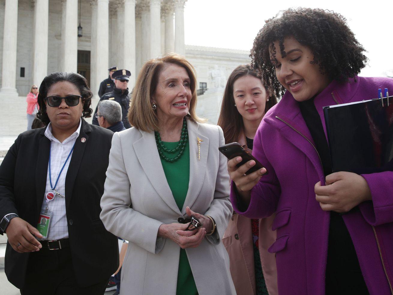 U.S. Speaker of the House Rep. Nancy Pelosi (D-CA)outside the U.S. Supreme Court.
