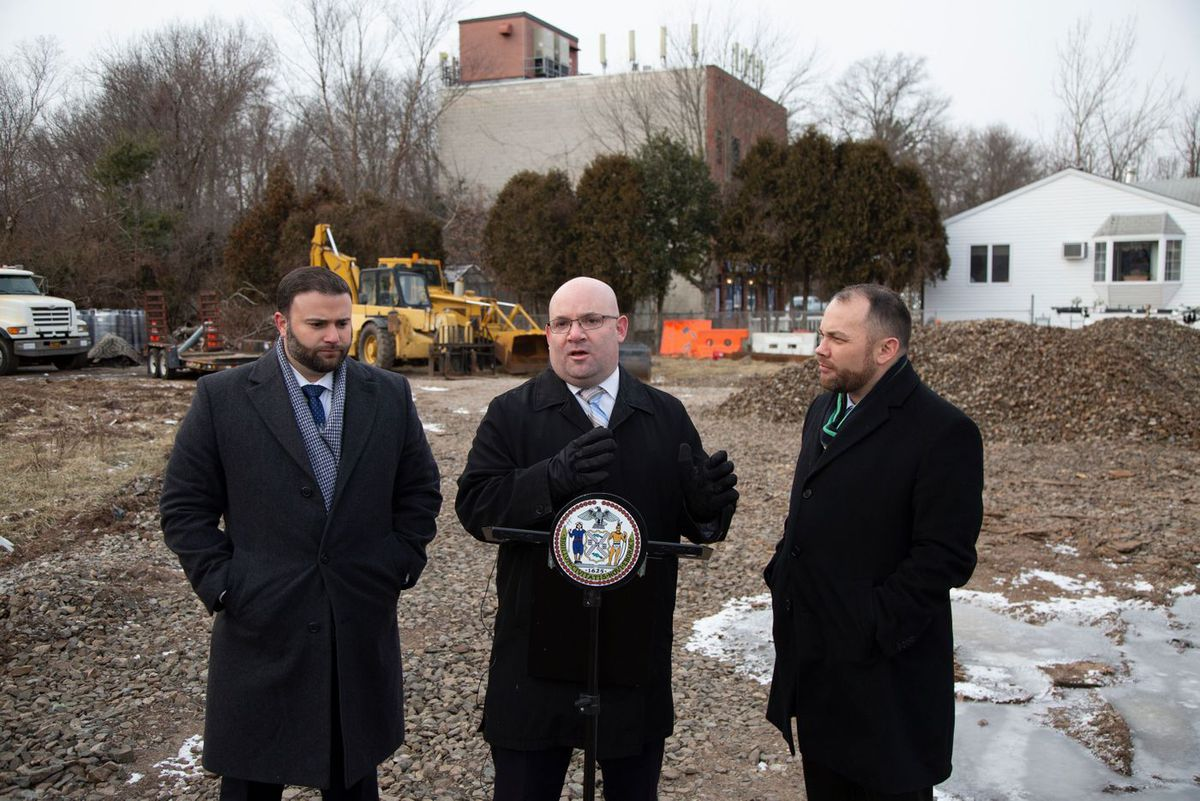 Councilmember Steven Matteo (R-Staten Island) speaks at a press conference about a construction project in the borough.