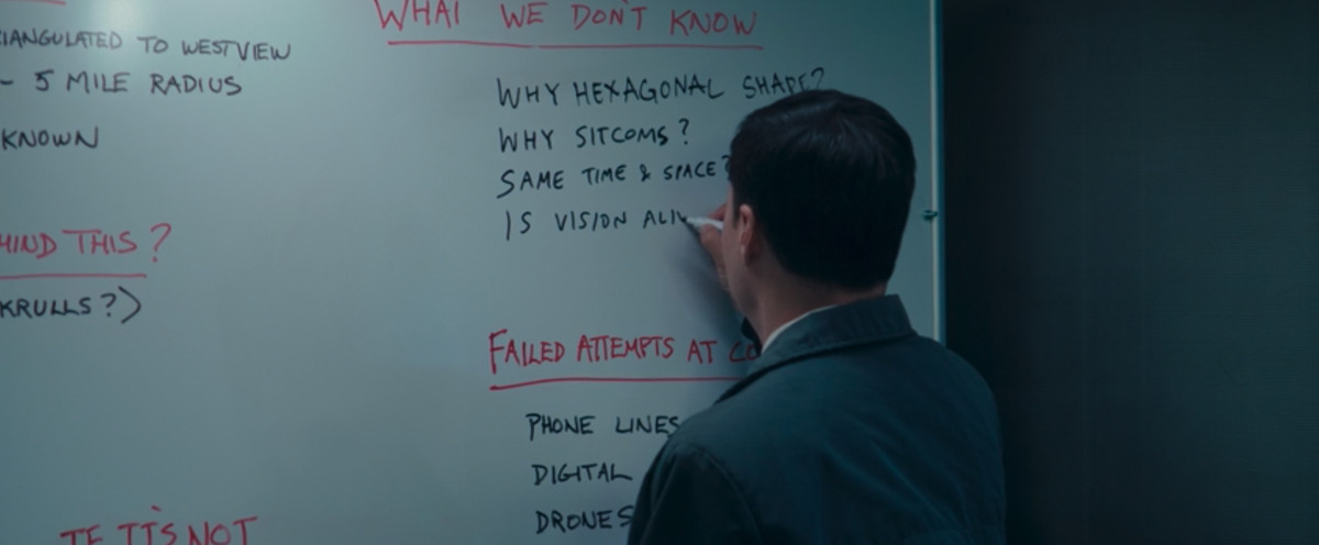 Agent Jimmy Woo writes a list of unanswered questions on a whiteboard in WandaVision.