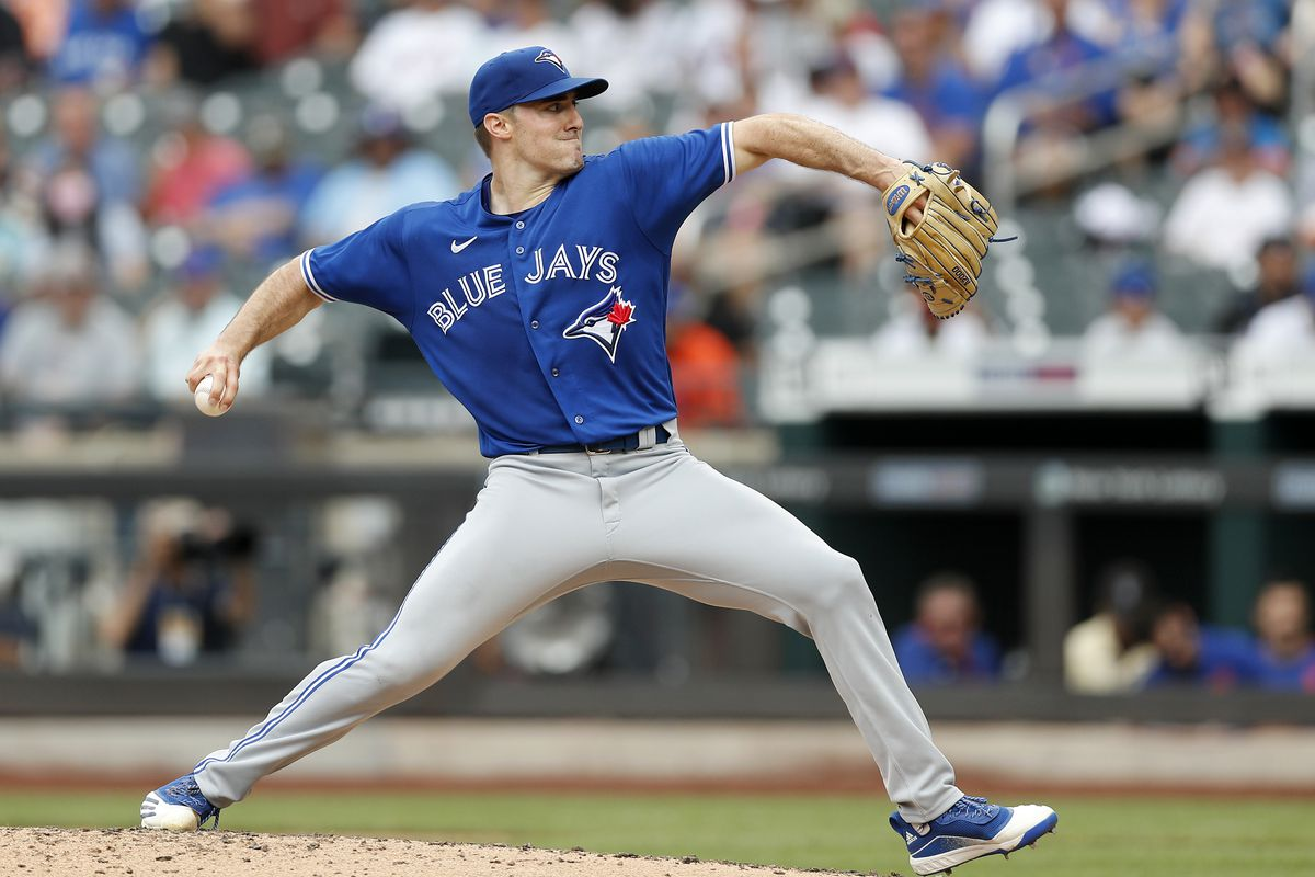 Ross Stripling #48 of the Toronto Blue Jays in action against the New York Mets at Citi Field on July 25, 2021 in New York City.