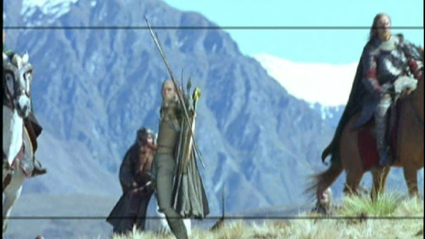 A low-poly digital double of Legolas from early renders of the shot where he leaps onto a running horse in The Two Towers.