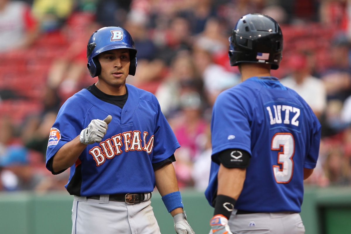 """The Buffalo Bisons wearing the old """"Mets"""" style uniforms."""