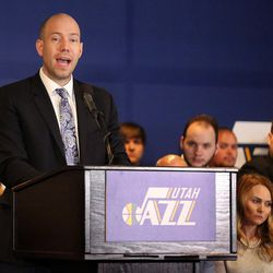 Brian Miller talks about the announcement that ownership of the Jazz will be transferred into a legacy trust to ensure the Jazz stay in Utah at the Vivant Smart Home Arena in Salt Lake City on Monday, Jan. 23, 2017.
