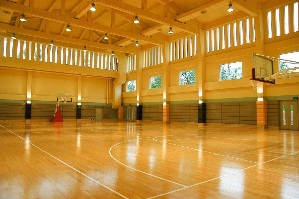 A gymnasium: the scene of the crime.