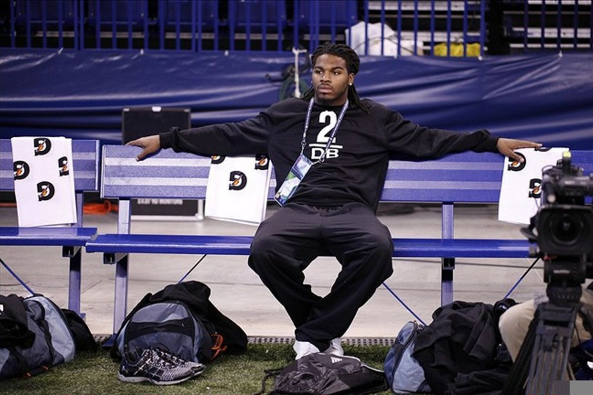 Alabama Crimson Tide defensive back Mark Barron watches others workout during the NFL Combine at Lucas Oil Stadium. Brian Spurlock-US PRESSWIRE