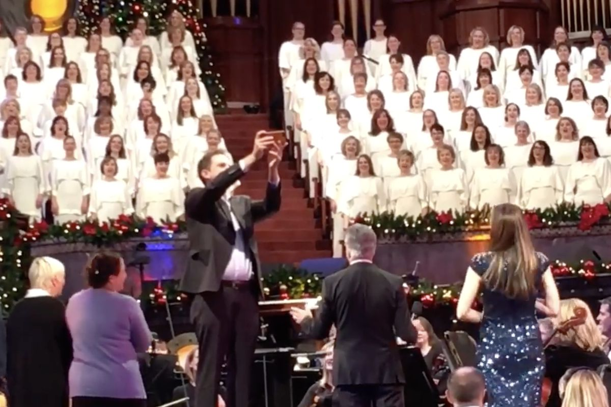 """After Music and the Spoken Word this morning, the choir sang happy birthday to Rian Johnson, the director of """"Star Wars: The Last Jedi,"""" which hit theaters this weekend."""